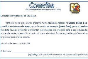 Convite/Reunião Pais-EE 9.º ano – Orientação vocacional, Oferta formativa, Saídas profissionais,…